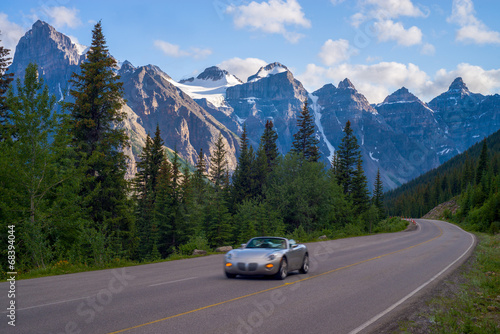 canvas print picture sports car, moraine lake road