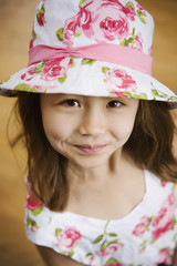 Close up of Asian girl wearing hat