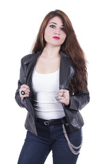 Attractive hispanic red haired girl wearing leather jacket