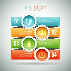 Gear Ribbon Infographic
