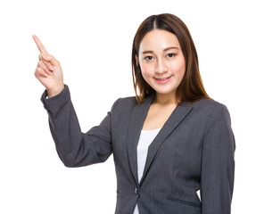 Indonesian mixed race businesswoman finger point out