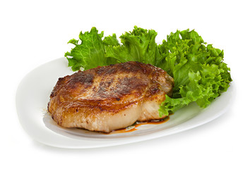 meat steak with lettuce