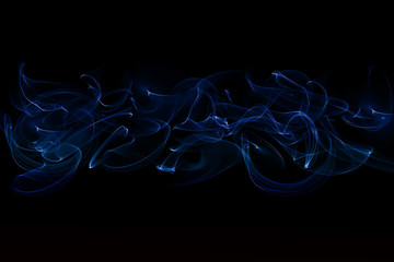 abstract blue smoke isolated on black background