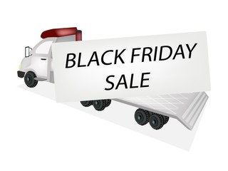 Tractor Trailer Flatbed Loading Black Friday Card