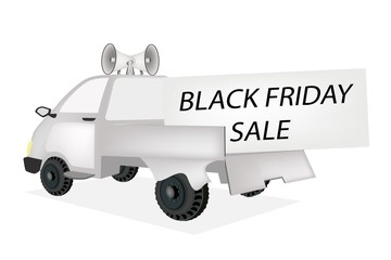 Black Friday Card on A Pickup Truck