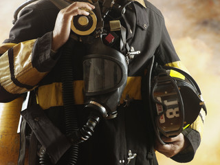 Close up of male fire fighter