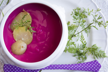 red beet cream soup