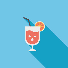 cocktail flat icon with long shadow