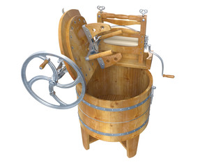 Antique Washing Machines. 3D isolated