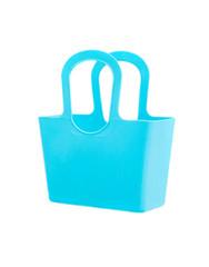 Blue plastic bag isolated on white