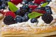 Raspberry tart with fresh cream layer