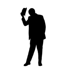 Silhouette of a Man Tipping his Hat