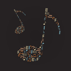 music note icons like big music note eps10