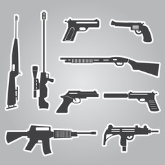 firearms weapons and guns black stickers eps10