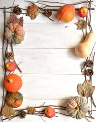 pumpkin,apple and fall leaf.frame