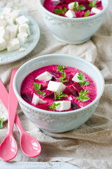 Beet cream soup with feta cheese