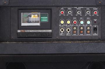Close up of  Vintage audio Karaoke cassette player