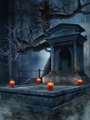 Stary grobowiec z czerwonymi lampionami