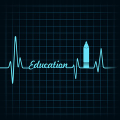 Heartbeat make a education symbol and text stock vecor