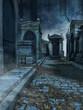 Aleja na starym gotyckim cmentarzu nocą - 68400022