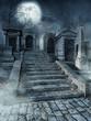 Schody na starym gotyckim cmentarzu