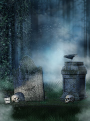 Stare nagrobki z czaszkami i krukiem