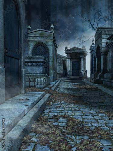 Leinwandbild Motiv Aleja na starym gotyckim cmentarzu nocą