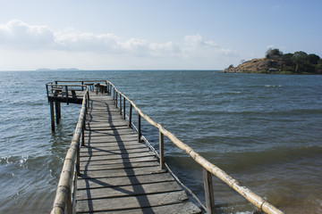 wooden jetty on Lake Malawi