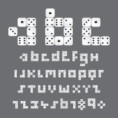 alphabetic fonts and numbers with dice style