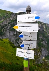 tourist signs in the mountains