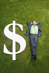 Asian businessman in grass next to dollar sign