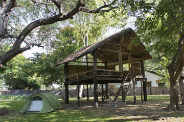 camping tend in the African savannah