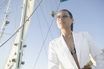 Portrait of Asian woman on sailboat