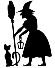 Witch and black cat