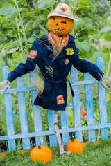Scarecrow in the garden - Autumn harvests