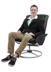 cool middle aged man relaxing with shoes and no socks