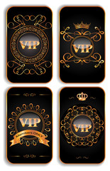 Set of vertical VIP gold cards