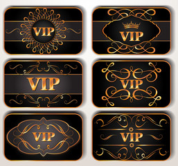 Set of gold VIP cards with floral pattern