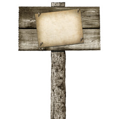 wooden post with signboard