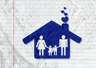 People Family Pictogram on Cement wall texture background design