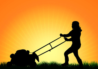 Woman with Lawn Mower
