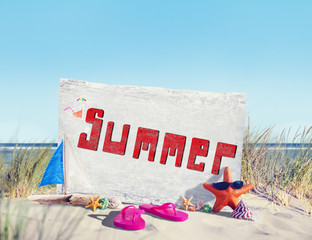 Signboard by the Coastline in Summer Concept