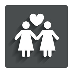 Couple sign icon. Woman love woman. Lesbians.