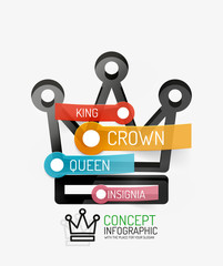 Vector crown infographics, line style and keys