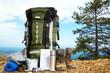 Leinwanddruck Bild - amping elements/ equipment on top of the mountain.