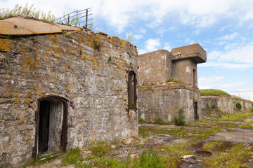 Old concrete bunker from WWII period on Totleben island in Russi