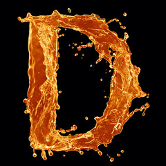 Orange liquid splash alphabet