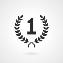 Black winner icon or number 1 sign