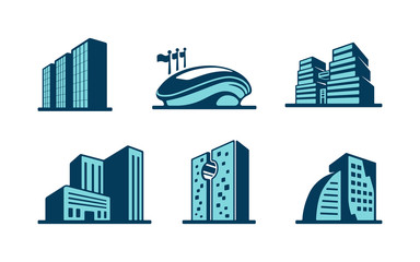 Vector 3d building icons set