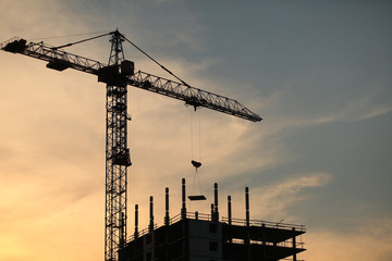 construction crane near the building on sunset background